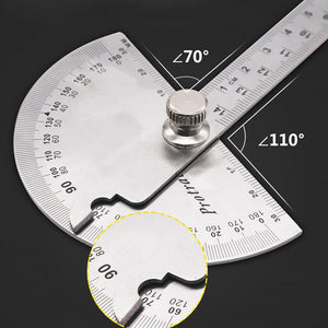 14.5cm 180 Degree Adjustable Protractor multifunction stainless steel roundhead angle ruler
