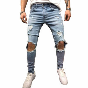 Fashion Streetwear Men's Jeans Vintage Blue Gray Color Skinny Destroyed Ripped Jeans Broken Punk