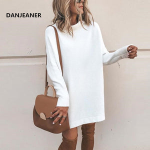 Danjeaner New Spring Turtleneck Solid Knitted Sweaters Dress Women Long Sleeve Slim Streetwear