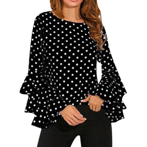 Women Polka Dot Blusas Shirts Spring Fashion O Neck Long Sleeve Blouse Femininas Casual Tops Plus