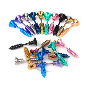 1PC Punk Men & Women Stud Earring Anti Allergic Stainless Steel Body Piercing Fashion Whole Screw