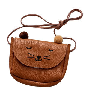 Children Shoulder Bag Mini Cat Ear Messenger Bags Simple Small Square Bag Kids All-Match Key Coin