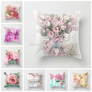 ZENGIA Euro Style Home Decor Cushion Cover Rose Flower Throw Pillow for sofa Mediterranean style