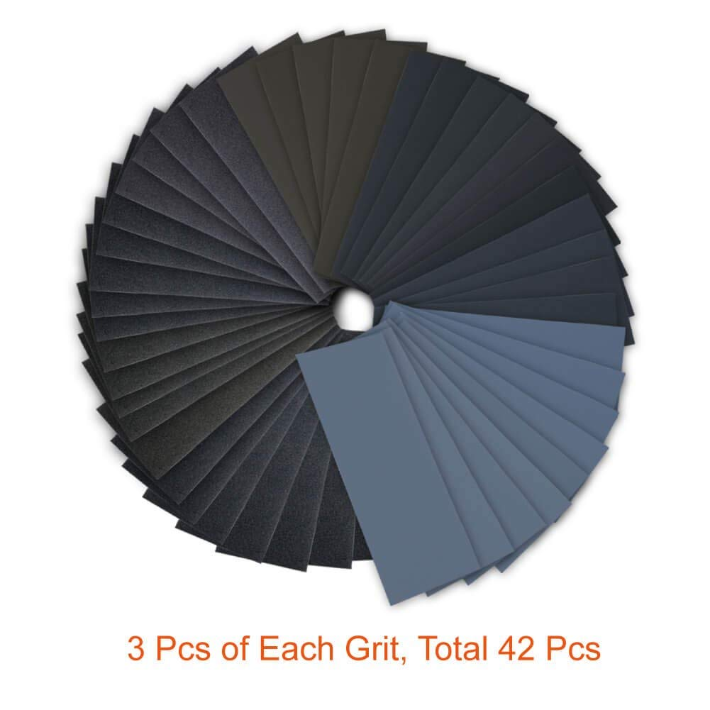 14Pcs Wet Dry Sandpaper 120 to 3000 Grit Assortment 9 3.6 Inches Abrasive Paper