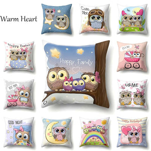 Cartoon Cushion Cover Owl Family Print Pillow Case Bird Polyester Cotton 45*45 CM Throw Pillow Cover