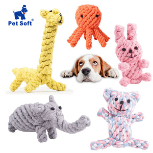 Pet Soft Dog Toys Animal Design Cotton Dog Rope Toys Durable Cotton Chew Toys Training Teething Toys