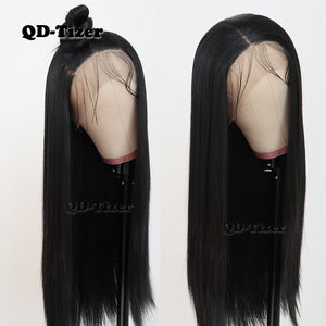 QD-Tizer Black Color Long Silky Straight Hair Lace Front Wig Gluless Heat Resistant Synthetic Lace