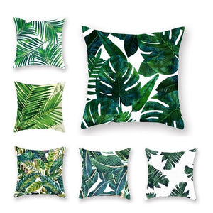 Tropical Plants Pillow Case Polyester Decorative Pillowcases Green Leaves Throw Pillow Cover