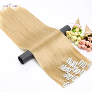 LISI HAIR Synthetic 16 Clips in Hair extension 56Cm 24 Inch Long Synthetic Fake False Hairpiece Clip