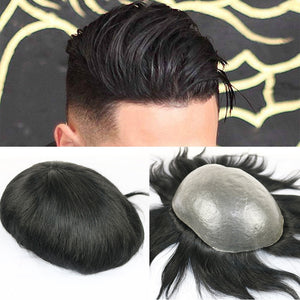 SimBeauty Full PU Men toupee Durable 0.06-0.08mm Skin Natural looking Remy Hair Men wig Human Hair