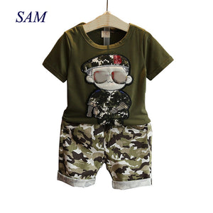 Children's Clothes Summer Kids Short Sleeves T-Shirt + Camouflage Shorts Suits Toddler Boys Clothing