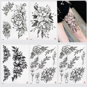 2019 New Waterproof Temporary Tattoo Sticker Old School Rose Pattern Tattoo Water Transfer Tattoo