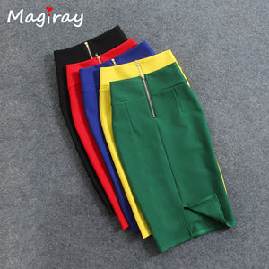Magiray High Waist Elastic Pencil Skirt Female Bodycon Skirts Womens Summer Knee Length Back Split Ladies Office Saia C571