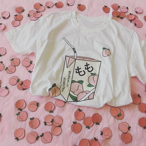 Peach Juice Japanses Aesthetic Grunge T-Shirt Women Girls 90s Kawaii White Tee Summer Casual Tumblr Outfit Fashion Top