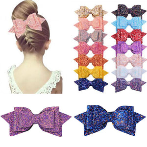 New Arrival 5 Inch/3 Inch Children Girls Shining Bow Cute Hair Accessories Hair Clips Women Girls