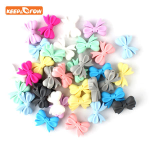 Keep&grow 10Pcs Bowknot Silicon Beads BPA Free Bow Tie Baby Teething Bead For DIY Jewelry Making Chewable Baby Teething Gift