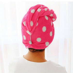 25x62 cm Lady's Magic Dry Hair Cap Quick Dry Hair Towel Lovely Drying Bath Towel Soft Head Wrap