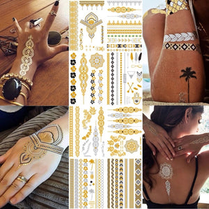 Flash Metallic Waterproof Tattoo Gold Silver Women Fashion Henna /Peacock Feather Design Temporary