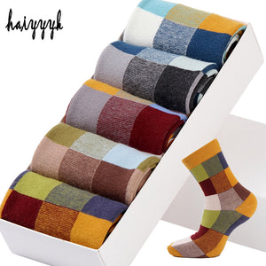 5 Pairs/Lot Combed Cotton Men's Socks Compression Socks Fashion Colorful Square Happy Dress Socks