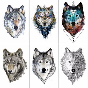 HXMAN Wolf Temporary Tattoo Stickers Waterproof Women Fake Hand Animal Tattoos Adult Men Body Art
