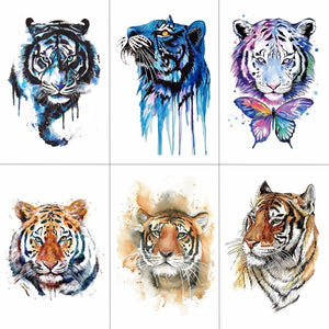 HXMAN Tiger Temporary Watercolor Tattoo Sticker Waterproof Women Fashion Fake Body Art Arm Tattoos