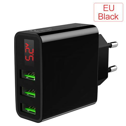 Mobile Phone Charger LED Display 3 USB Charger for iPhone Samsung Xiaomi EU Travel Wall Charger