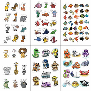HXMAN Cartoon Animals Children Temporary Tattoo Sticker Waterproof Fashion Fake Body Art Tattoos