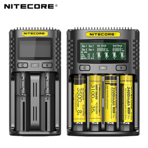 100% Original Nitecore UM4 UM2 USB QC Battery Charger Intelligent Circuitry Global Insurance
