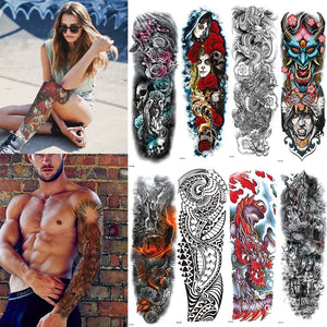 FULL SLEEVE ARM TEMPORARY TATTOO, ORIENTAL DRAGON, LOTUS FLOWERS, MENS, WOMENS