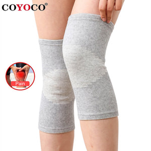 COYOCO Knee Support Protector 1 Pcs Leg Arthritis Injury Gym Sleeve Elasticated Bandage knee Pad Charcoal Knitted Kneepads Warm