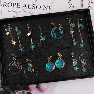 Korea Style Asymmetrical Fresh Enamel blue Star Moon Planet Circle Clip on Earrings Non Pierced