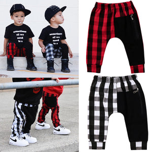 Pudcoco Boy Pants 1Y-6Y Fashion Toddler Kids Boys Plaid Bottom Pants Panty Harem Pants Trousers Casual