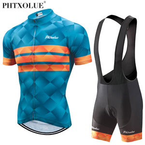 Phtxolue Cycling Clothing Men Set Bike Clothing Breathable Anti-UV Bicycle Wear/Short Sleeve Cycling