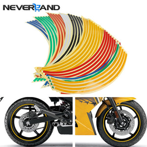 "18"" Motorcycle Decor Tire Rim Wheel Sticker Reflective Bike Car Styling Motorbike Auto Decals For"