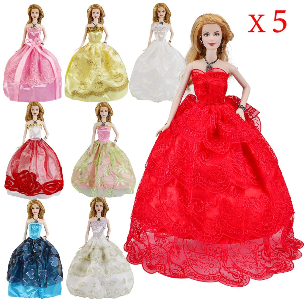 5 Pcs High Quality Fashion Handmade Clothes Dresses Grows Outfit for Doll dress for girls Random