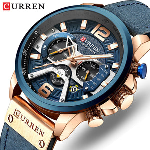 CURREN Luxury Brand Men Analog Leather Sports Watches Men's Army Military Watch Male Date Quartz