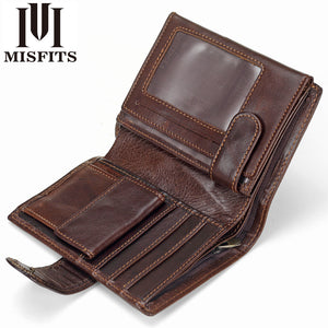 MISFITS Vintage Men Wallet Genuine Leather Short Wallets Male Multifunctional Cowhide Male Purse