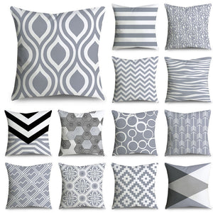 45*45cm Gray Striped Geometric Cushion Cover Polyester Pillowcase Cojines Decorativos Para Sofa Home
