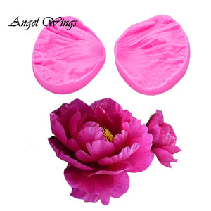 3D Peony Flower Petals Embossed Silicone Mold Relief Fondant Cake Decorating Tools Chocolate