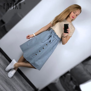 FATIKA High Waist Midi Skirts Solid Pockets A-Line Casual Ladies Bottoms Trendy Female Skirts With Sashes 2019 Hot New For Women