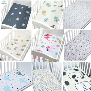 100% Cotton Crib Fitted Sheet Soft Breathable Baby Bed Mattress Cover Cartoon Newborn Bedding For