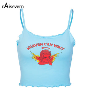 Raisevern Cute Women Crop Top HEAVEN CAN WAIT Print Blue Tee Tops Harajuku Summer Tops Cropped Cami Tank Top