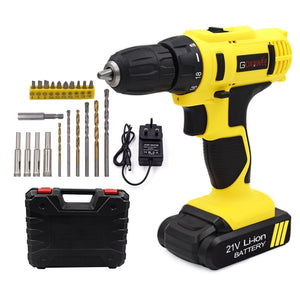 GOXAWEE 21V/12V Electric Screwdriver Cordless Electric Mini Drill Lithium-Ion Battery Operated