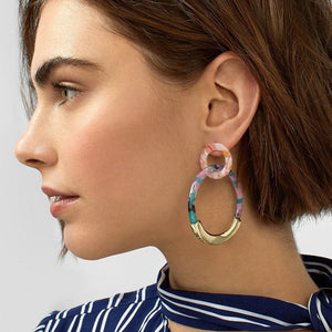 Fashion Colorful Leopard Acrylic Dangle Earring for Women Gold Alloy Round Geometry Resin