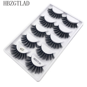 5pairs/1box thick false eyelashes black long 3d mink eyelashes eyelash extension professional mink