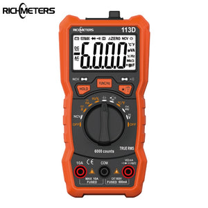 RICHMETERS RM113D NCV Digital Multimeter 6000 counts Auto Ranging AC/DC voltage meter Flash light