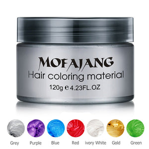 Color Hair Wax Styling Pomade Silver Grandma Grey Temporary Dye Disposable Fashion Festival