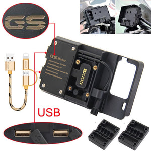 For BMW R1200GS Mobile Phone Navigation Bracket ADV F700 800GS CRF1000L Africa Twin For Honda Motorcycle USB Charging 12MM Mount