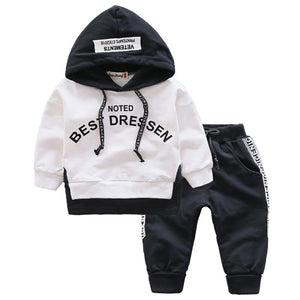 Spring Autumn Kids Cotton Clothes Sets Baby Girls Boys Sports Hooded T-Shirt Pants 2pcs/Sets Fashion
