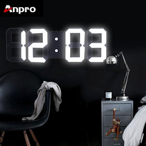 Anpro 3D Large LED Digital Wall Clock Date Time Celsius Nightlight Display Table Desktop Clocks Alarm Clock From Living Room